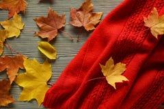 Los accesorios del otoño hicieron punto los suéteres y las hojas Imagen de archivo
