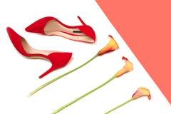 Los accesorios elegantes femeninos forman el equipo de lujo fijado: zapatos y flores rojos en el fondo coralino del color y blanc foto de archivo libre de regalías