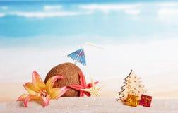 Los accesorios en la arena, coco, árbol de la Navidad, presentan Fotografía de archivo