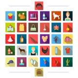 , los accesorios, las materias textiles, la medicina y el otro icono del web en estilo plano puerta, turismo, negocio, iconos en  libre illustration
