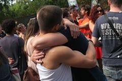 Los activistas homosexuales protestan contra las leyes gay antis rusas imagen de archivo