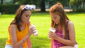 Los adolescentes beben los batidos de leche en la comida campestre en parque almacen de video
