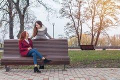 Los adolescentes femeninos en el banco en una ciudad del otoño parquean Fotografía de archivo