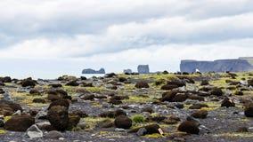 los adoquines en la superficie de Reynisfjara varan en Islandia Foto de archivo libre de regalías