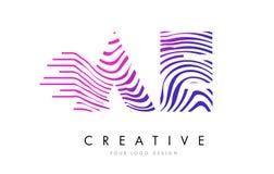 Los AE una cebra de D alinean la letra Logo Design con colores magentas stock de ilustración