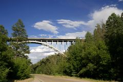 Los Alamos Canyon Bridge. A bridge that connects the Los Alamos National Laboratory to the town of Los Alamos Stock Photos