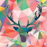 Los alces principales del ejemplo del vector de los ciervos siluetean el fondo poligonal del extracto del mosaico Fotografía de archivo