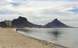 A Los Algodones Catch 22 Beach Shot, San Carlos, Guaymas, Sonora. A Los Algodones Catch 22 Beach and Tetakawi Mountain Shot in San Carlos, Guaymas, Sonora royalty free stock photo