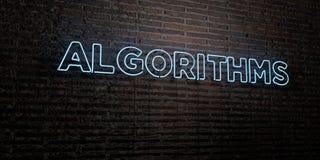 Los ALGORITMOS - señal de neón realista en fondo de la pared de ladrillo - 3D rindieron imagen común libre de los derechos stock de ilustración