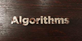 Los algoritmos - título de madera sucio en arce - 3D rindieron imagen común libre de los derechos ilustración del vector