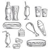 Los alimentos de preparación rápida con el postre y las bebidas bosquejan iconos Imagenes de archivo