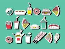 Los alimentos de preparación rápida fijaron 7 Fotografía de archivo