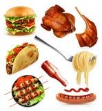 Los alimentos de preparación rápida, fijaron iconos del vector Fotografía de archivo