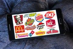 Los alimentos de preparación rápida otorgan la concesión de marcas y de logotipos Fotos de archivo