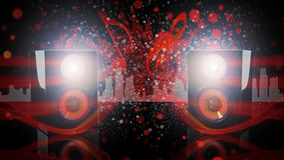 Los altavoces negros del estante con rojo señalaron por medio de luces Imagen de archivo libre de regalías
