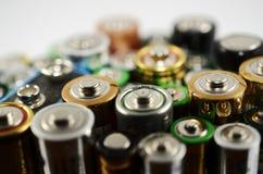 Los alte benutzte Batterien, Weichzeichnung Stockbild
