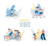 Los ambientes del verano fijaron con la reclinación de los miembros de la familia felices ilustración del vector