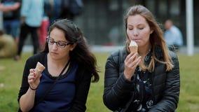 Los amigos con helado se relajan en un parque almacen de video