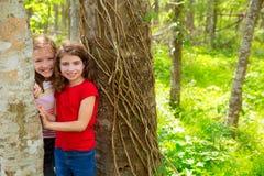 Los amigos de los niños que juegan en troncos de árbol en la selva parquean Fotos de archivo libres de regalías