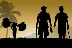 Los amigos del hombre caminan juntos y portador para el viaje ilustración del vector