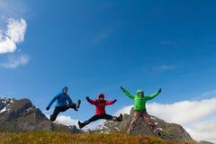 Los amigos deportivos disfrutan de las vacaciones en las montañas de Noruega imágenes de archivo libres de regalías
