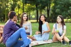 Los amigos en comida campestre, hombre joven lanzan una manzana a la mujer Imagenes de archivo