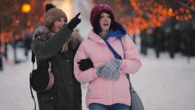 Los amigos felices de las mujeres caminan a lo largo del callejón juntos en el día de invierno almacen de video
