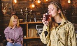 Los amigos gozan del vino reflexionado sobre en la atmósfera caliente, interior de madera Muchachas que relajan y que beben el vi imagen de archivo libre de regalías