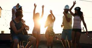 Los amigos que se divierten y que beben los c?cteles al aire libre en un tejado se re?nen fotos de archivo libres de regalías