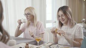 Los amigos se encontraron en un café, té charlando, de la consumición y los postres de la consumición almacen de metraje de vídeo
