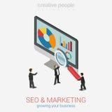 Los analytics del sitio web del márketing de SEO divulgan el web plano 3d isométrico Imagen de archivo libre de regalías
