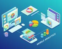 Los analytics móviles del web infographic, vector el ejemplo isométrico plano ilustración del vector