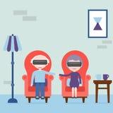Los ancianos sienten jovenes en realidad virtual Abuela y abuelo con las auriculares de la realidad virtual en casa en la butaca stock de ilustración