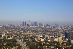 Los Angeles śródmieście od Hollywood Fotografia Royalty Free