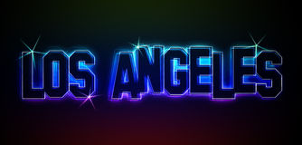 LOS ANGELES. As an illustration of the neon LED lighting style for presentations, flyers, web, etc Stock Photography