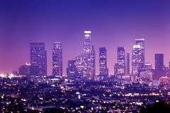 Los Angeles. Downtown Los Angeles skyline at night Royalty Free Stock Image