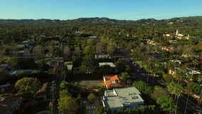 Los Angeles Aerial Beverly Hills. V53 Low flying aerial over Beverly Hills neighborhood