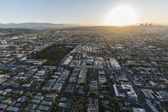 Los Angeles Aerial Paramount Pictures and Downtown Royalty Free Stock Images