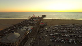 Los Angeles Aerial Santa Monica Pier stock video footage