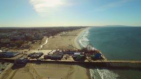 Los Angeles Aerial Santa Monica Pier stock video footage
