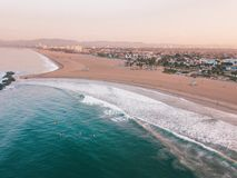 Los Angeles aerial sunrise by the ocean royalty free stock photography