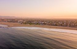 Los Angeles aerial sunrise by the ocean royalty free stock images
