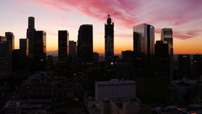 Los Angeles Aerial. V109 Flying up over downtown at dawn