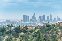 Los Angeles affärsmitten av Kalifornien Cityscape av den i stadens centrum flyg- sikten Arkivbilder