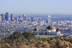 Los Angeles afternoon cityscape with Griffith Observatory Stock Image