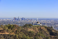 Los Angeles afternoon cityscape with Griffith Observatory Stock Photography