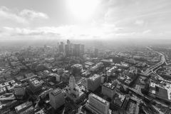 Los Angeles Afternoon Clouds Aerial Black and White Stock Images