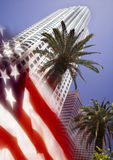Los Angeles And US Flag Stock Photos