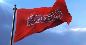 Los Angeles Angels flag, american professional baseball team, waving - loop. Flag of the team of the Los Angeles Angels, american professional baseball team stock video