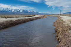 Los Angeles Aqueduct after a wet, snowy winter Stock Images